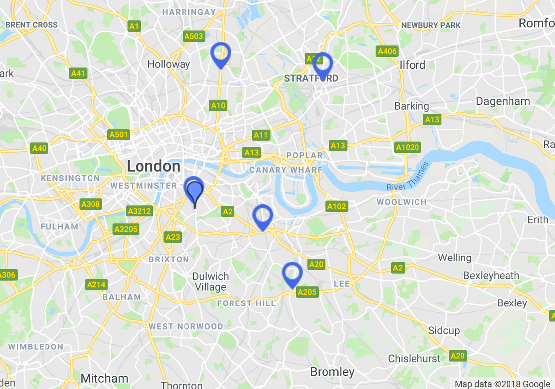 map showing Excel Exam Centres Locations